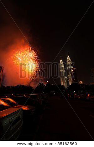 New Year Fireworks Petronas Towers Kuala Lumpur V