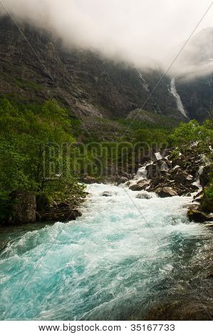 Waterfalls And Mountain Norway