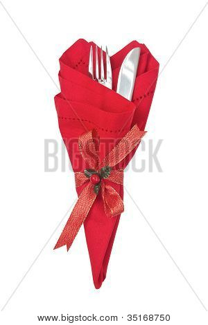 Knife And Fork Wrapped in red napkin For Christmas