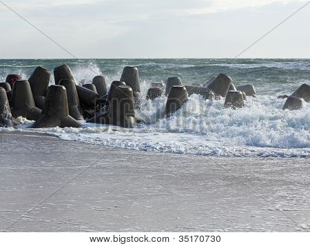 Mighty Tetrapods, Made Of Concrete, Protect The Coast Of The Island Of Sylt