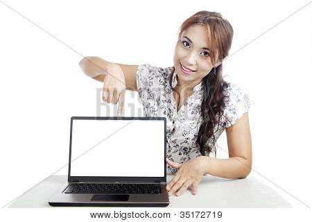 Woman Presenting Copy Space