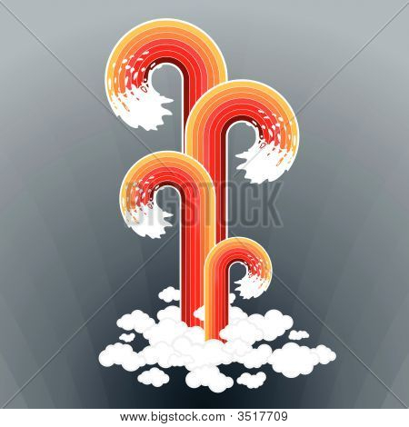 Splashy Lined Art Cloudscape Background