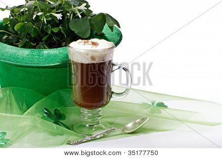 Shamrocks And Irish Coffee On White