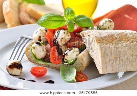 Stuffed ciabatta bread