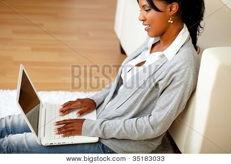 Afro-american Woman Using Her Laptop