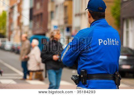 European Police Blue Uniform Back One
