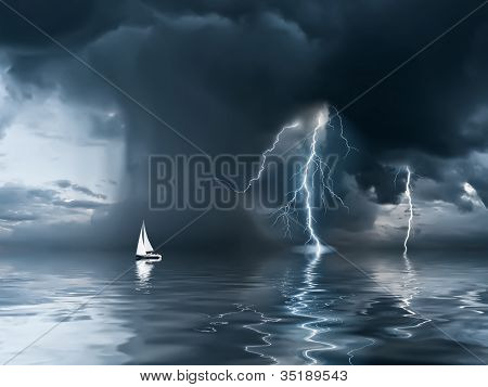 Thunderstorm And Yacht At The Ocean