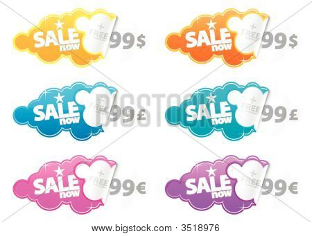 Sale Now Peeling Stickers With Currency Label