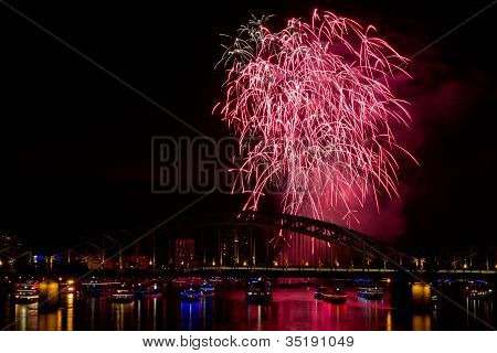 Firework In Red Lights