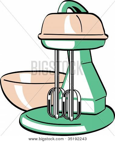 Retro Vintage Electric Mixer Bowl Clip Art