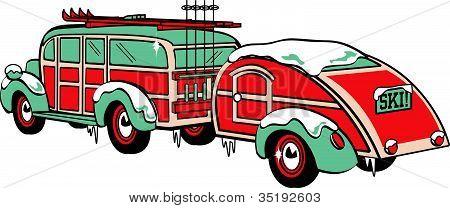 Vintage Station Wagon and Trailer Skis