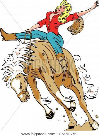 Horse Bucking Bronco Cowgirl Clip Art