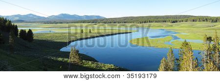 Landscape Panorama Of Yellowstone National Park
