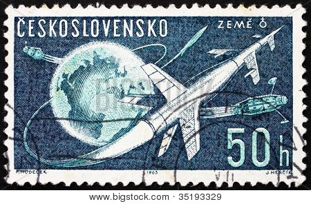 Postage stamp Czechoslovakia 1963 Rockets and Sputniks