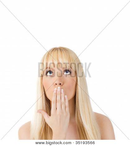 Surprised Woman Looking Up At Copyspac