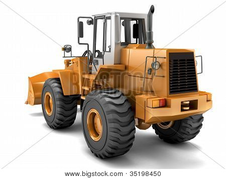 Hydraulic Loader. Rear View. Isolated On White