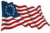 stock photo of betsy ross  - Waving USA Betsy Ross flag clean cut illustration - JPG