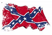 stock photo of confederate flag  - Waving Confederate Rebel flag under a grunge texture layer - JPG