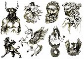 picture of minotaur  - black and white hand drawings of mythological characters - JPG