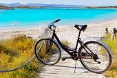 Bicycle in formentera beach on Balearic islands at Illetes Illetas