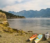 Beached Sea Kayaks on Bowen Island