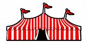 picture of circus tent  - illustration of a red striped circus tent - JPG