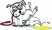 image of peeing  - Cartoon Bulldog Dog Peeing or Urinating on the Ground - JPG