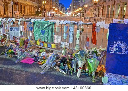 Boston - Apr 18: Memorial From Flowers Set Up On Boylston Street In Boston, Usa On April 18, 2013.