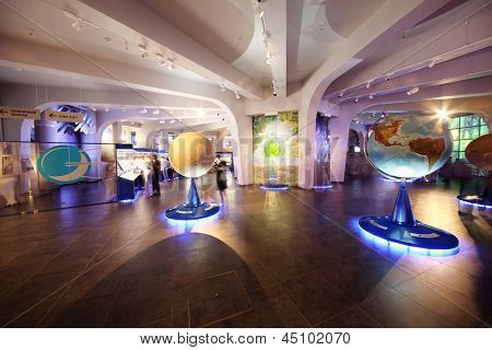 MOSCOW - JUNE 15: Models of planets in Planetarium, on June 15, 2012 in Moscow, Russia. Moscow Planetarium - one of world largest and oldest planetarium in Russia.