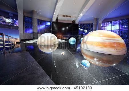 MOSCOW - JUNE 15: Models of solar system in Planetarium, on June 15, 2012 in Moscow, Russia. Moscow Planetarium - one of world largest and oldest planetarium in Russia.