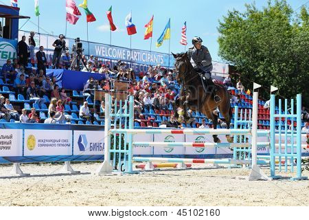 MOSCOW - JUN 17: Horseman participate in competitions on tournament on modern pentathlon - Kremlin Cup in horse-racing centre of CSKA, on Jun 17, 2012 in Moscow, Russia.