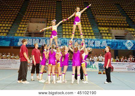 Moscú - 24 de MAR: No identificados porristas equipo realiza en Campeonato y concursos de Moscú en c