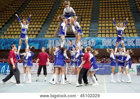 Moscú - 24 de MAR: Las niñas participantes del equipo de porristas Jam realizar durante el campeonato y concurso