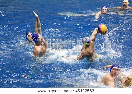 MOSCOW - APR 20: Battle in match on water polo of Olympic Sports complex, on April 20, 2012 in Moscow, Russia