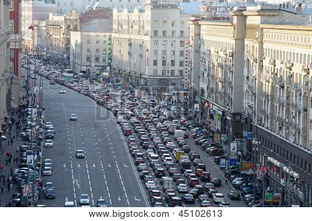 MOSCOW - MAY 15: Traffic jam on Tverskaya st., May 15, 2012 in Moscow, Russia. Moscow Mayor Sobyanin reconstructs suburban railways, building new roads to solve problem of traffic jams in 2016.