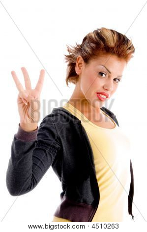 Pretty Woman Showing Three Fingers