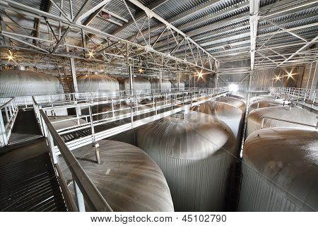 MOSCOW - MAY 31: Department with cisterns for beer in Ochakovo factory, May 31, 2012, Moscow, Russia. Ochakovo aims to produce natural, useful, without any preservatives, artificial additives products