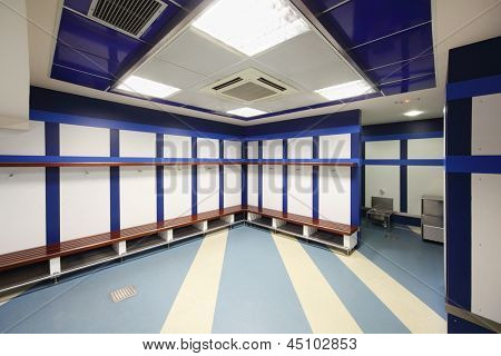 MADRID - MARCH 8: Empty locker room in Santiago Bernabeu Stadium - arena of soccer club Real Madrid, on March 8 2012 in Madrid, Spain. Spanish football club Real Madrid created March 6, 1902.