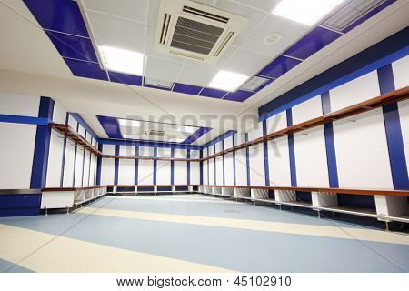 MADRID - MAR 8: Locker room in Santiago Bernabeu Stadium - arena of soccer club Real Madrid, Mar 8 2012 Madrid, Spain. Spanish football club Real Madrid named FIFA best football club in XX century.