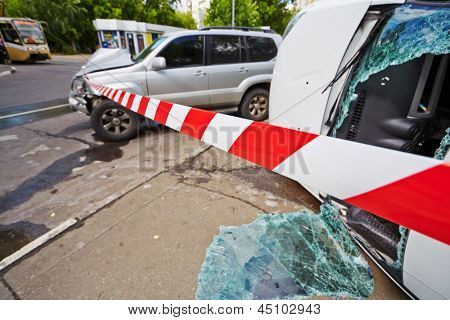 MOSCOW - JUN 4: Serious car accident at intersection of Pogonny passage and 1-st Podbelsky passage, Jun 4, 2012, Moscow, Russia. Place of car accident fenced with barrier tape.