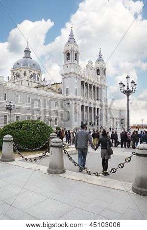 MADRID - MARCH 7: Cathedral of Nuestra Senora de la Almudena, on March 7 2012 in Madrid, Spain. Tourist business - this is one of most important revenue Spanish GDP.