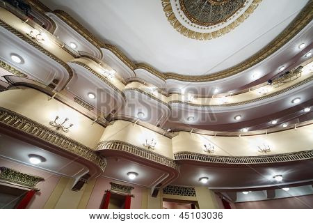 MOSCOW - APRIL 23: Bottom view of balconies in auditorium in Vakhtangov Theatre on April 23, 2012 in Moscow, Russia. Vakhtangov Theater is located in historical center of Moscow, on Old Arbat.