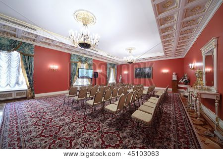 MOSCOW - APR 24: Red Hall in Guest extension for meeting with newspersons in Grand Kremlin Palace on Apr 24, 2012 in Moscow, Russia. Grand Kremlin Palace is ceremonial residence of Russian President.