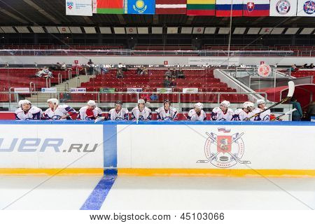 MOSCOW - APR 28: Flags over players on closing ceremony of the championship season of 2011-2012 Ice Hockey for Sports School, junior teams on April 28, 2012  in Sokolniki, Moscow, Russia.