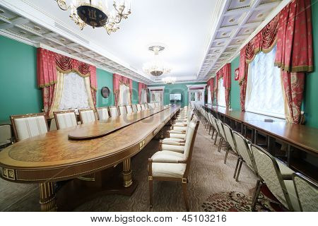 MOSCOW - APR 24: Conference table in Green Hall of guest annexe in Grand Kremlin Palace on Apr 24, 2012 in Moscow, Russia. Grand Kremlin Palace was built in 1838-1849 by order of Emperor Nicholas I.