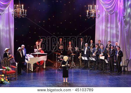 MOSCOW - APRIL 23: Nemolyaeva speech at Ball Crystal Turandot, dedicated to anniversary of Svetlana Nemolyaeva in Vakhtangov Theatre on April 23, 2012 in Moscow, Russia.