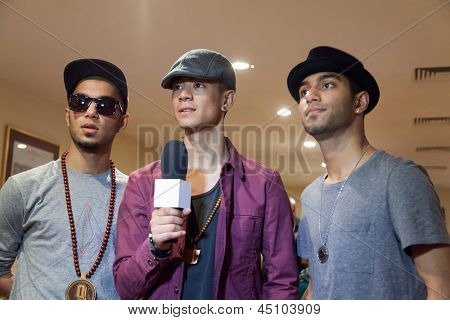 MOSCOW - APR 1: Band, called  Quick Style is interviewed on Hip Hop International - Cup of Russia 2012 in The Palace of Culture MSTU named after Bauman on April 1, 2012 in Moscow, Russia.