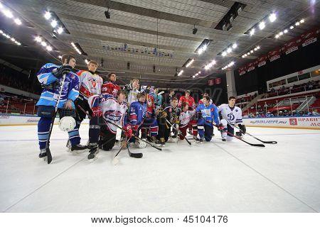 MOSCOW - APR 28: Group photo of players on closing ceremony of championship season of 2011-2012 Ice Hockey for Sports School, junior teams, Apr 28, 2012  in Sokolniki, Moscow, Russia.