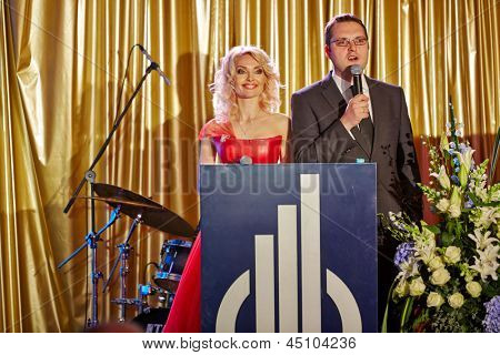 MOSCOW - MAY 29: Presenters on stage during annual ceremony of delivery of the national award Financial Olympus in Hotel Ritz-Carlton, May 29, 2012, Moscow, Russia.