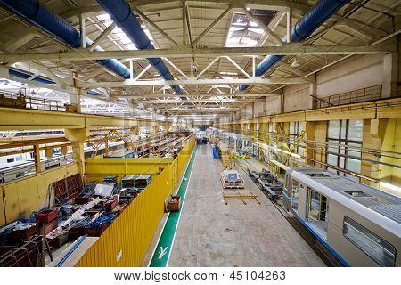 MYTISHCHI - APR 18: Assembling shop floor at  Mytishchi Metrovagonmash factory, April 18, 2012, Mytishchi, Russia. The plant is famous for creating user-friendly subway cars.